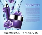 cosmetic product with falling... | Shutterstock .eps vector #671487955