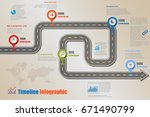 design template  road map... | Shutterstock .eps vector #671490799