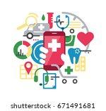 medical health care app for...   Shutterstock .eps vector #671491681