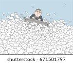 clerk drifting with his desk...   Shutterstock .eps vector #671501797