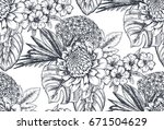 vector seamless pattern with... | Shutterstock .eps vector #671504629