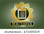 gold badge with list icon and... | Shutterstock .eps vector #671505319