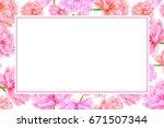 watercolor pink peony.... | Shutterstock . vector #671507344