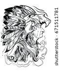 ancient shaman | Shutterstock .eps vector #671511781