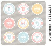 vector cute labels for baby... | Shutterstock .eps vector #671512189