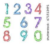element  set of ten numbers... | Shutterstock .eps vector #671513491