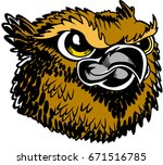 Mascot Owl head, proud and tough, which gives tribute to traditional school mascots but with a new look and attitude. Suitable for all sports. - stock vector