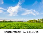 green fields and blue sky at... | Shutterstock . vector #671518045
