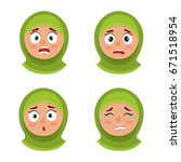 little arab girl with hijab... | Shutterstock .eps vector #671518954