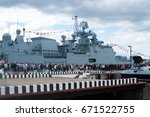 "Small photo of Saint Petersburg, Russia - July 02, 2017: International naval salon. Turn visitors aboard the latest Russian frigates ""Admiral Makarov""."
