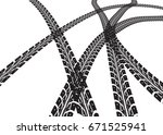 tire tracks vector   Shutterstock .eps vector #671525941