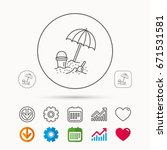 beach umbrella in sand icon.... | Shutterstock .eps vector #671531581