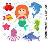 mermaid and sea animals. fish ... | Shutterstock .eps vector #671534905
