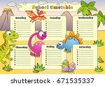 school timetable with dinosaurs | Shutterstock .eps vector #671535337