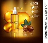 argan oil natural organics... | Shutterstock .eps vector #671536177