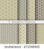 set of 8 seamless islamic... | Shutterstock .eps vector #671548405