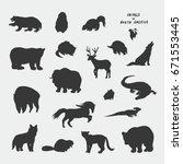 animals of north america doodle ... | Shutterstock .eps vector #671553445