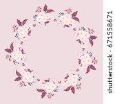 flower round frame of delicate...   Shutterstock .eps vector #671558671