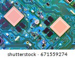 electronic circuit board close... | Shutterstock . vector #671559274