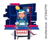 workaholic concept. sick... | Shutterstock .eps vector #671563795