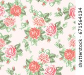 Stock vector seamless delicate floral pattern with roses vector print for fabric decoration 671564134