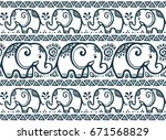 dark blue tiny elephants lines... | Shutterstock . vector #671568829