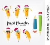 cartoon pencil character...   Shutterstock .eps vector #671569534