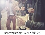 Group of friends drinking wine  ...
