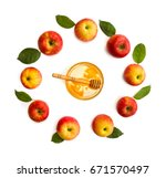 honey and ripe yellow red juicy ... | Shutterstock . vector #671570497