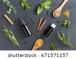 two bottles of essential oil... | Shutterstock . vector #671571157
