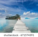 bridge to agios sostis island ... | Shutterstock . vector #671574391