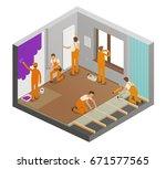 repairing flat concept.... | Shutterstock .eps vector #671577565