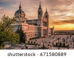 madrid  spain  the cathedral of ... | Shutterstock . vector #671580889