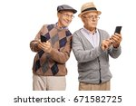 senior with a phone looking at... | Shutterstock . vector #671582725