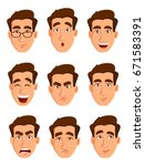 face expressions of a man.... | Shutterstock .eps vector #671583391