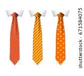 set different orange ties... | Shutterstock .eps vector #671584075