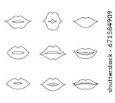 lips outline thin art set. soft ... | Shutterstock .eps vector #671584909