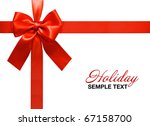 big red holiday bow on white... | Shutterstock . vector #67158700