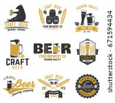 set of craft beer badges with... | Shutterstock .eps vector #671594434