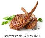 freshly grilled tomahawk steaks ... | Shutterstock . vector #671594641