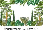vector tropical background with ... | Shutterstock .eps vector #671595811