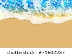 soft blue wave on sandy beach.... | Shutterstock .eps vector #671602237