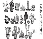 cactuses  hand drawn vector... | Shutterstock .eps vector #671603311