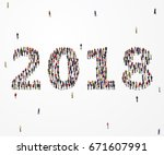 happy new year 2018. large and... | Shutterstock .eps vector #671607991