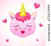 cute pink unicorn romantic gift ... | Shutterstock .eps vector #671613994