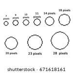 pixel circles set 9 pixel round ... | Shutterstock .eps vector #671618161