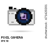 pixel photo camera icon  vector ... | Shutterstock .eps vector #671620201