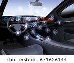 autonomous car interior.... | Shutterstock . vector #671626144
