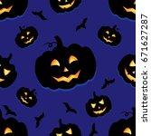 funny background of halloween... | Shutterstock .eps vector #671627287