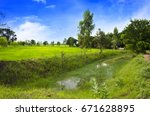 beautiful spring day on the... | Shutterstock . vector #671628895